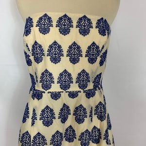 J.Crew Eyelet Embroidered Strapless Dress Size 10